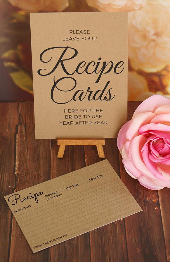recipe card sign